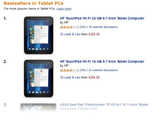 HP Palm webOS TouchPad (defunct)