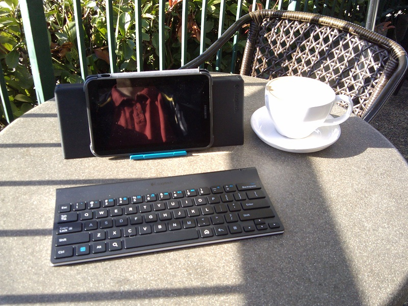 Samsung Galaxy Tab 2, with Logitech Bluetooth Keyboard