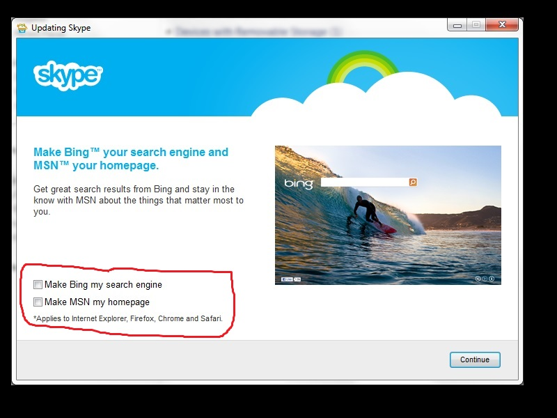 Installing Skype gets your default search engine and home page reset to the Microsoft properties