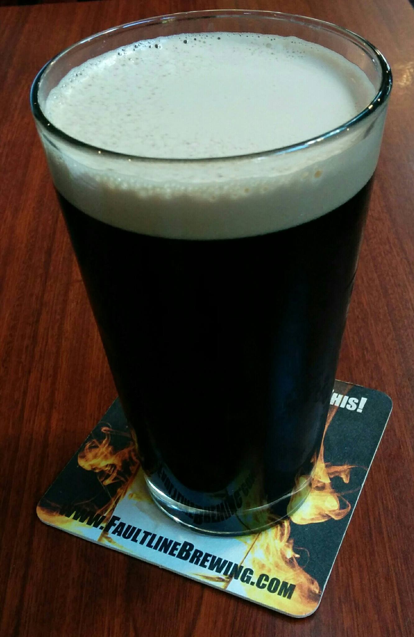 Pint of Irish Stout on St Patrick's Day, at the Faultline Brewery, Santa Clara, California