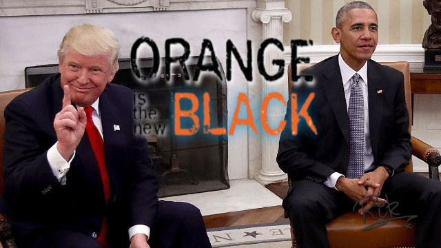 Donald Trump and Barack Obama in the Whitehouse together.  In a spoof of the poster art for the TV show 'orange is the new black'.  Point being, Donald Trump is the new president, and he's orange.  He's replacing Barack Obama, who's the old president, but black.