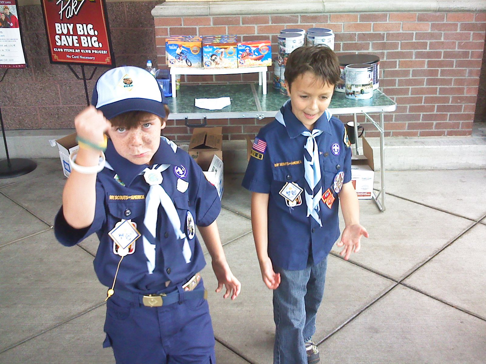 Selling popcorn for the scouts