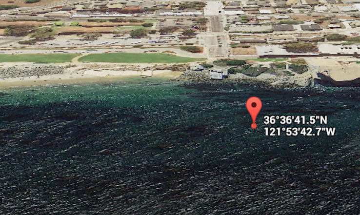 View from the ocean side with GPS coordinates of surface location indicated